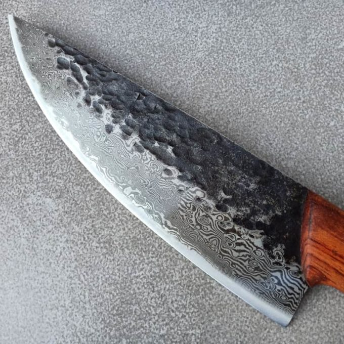 Blade of the pattern welded chef knife