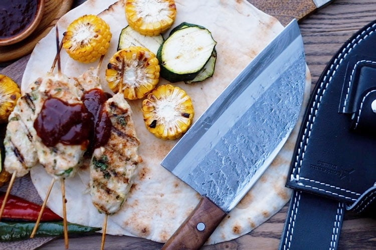 stainless Serbian knife with kebab
